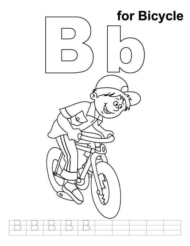 B for bicycle coloring page with handwriting practice Summer - best of bee coloring pages preschool