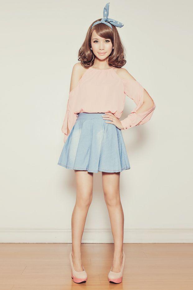 denim circle skirt outfits - Google Search | chic & stylish ...