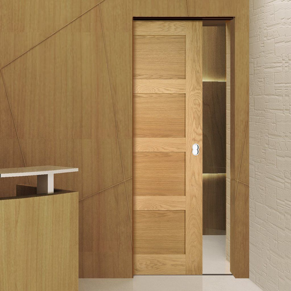 Coventry Shaker Style Oak Single Evokit Pocket Door – Unfini…