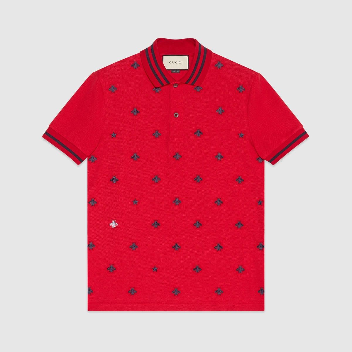 1dc7cda1 GUCCI Cotton polo with bees and stars - red stretch cotton piquet. #gucci  #cloth #