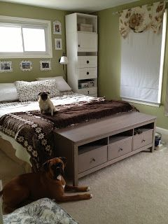 Ikea Besta Shelves And Hemnes Tv Stand At End Of Bed