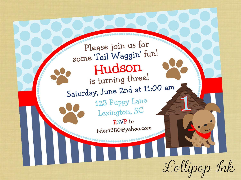 Boy Puppy Printable Invitation, Puppy Dog Personalized Birthday ...
