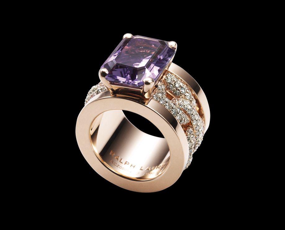 Ralph Lauren18K rose gold ring with fullpav brown diamond chain