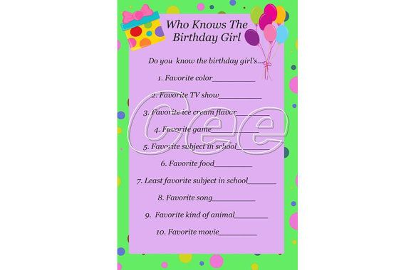 Who Knows The Birthday Girl Printable Party Game Have Guests Guess