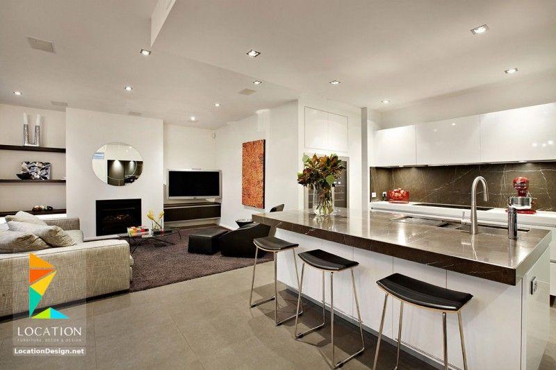 كولكشن مطابخ مفتوحه على الصاله للشقق الحديثة لوكشين ديزين نت Living Room And Kitchen Design Open Plan Kitchen Dining Living Home