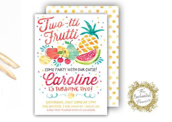 Twotti Frutti - Birthday Invitation - Tutti Frutti - Watercolor - fresh birthday invitation jokes