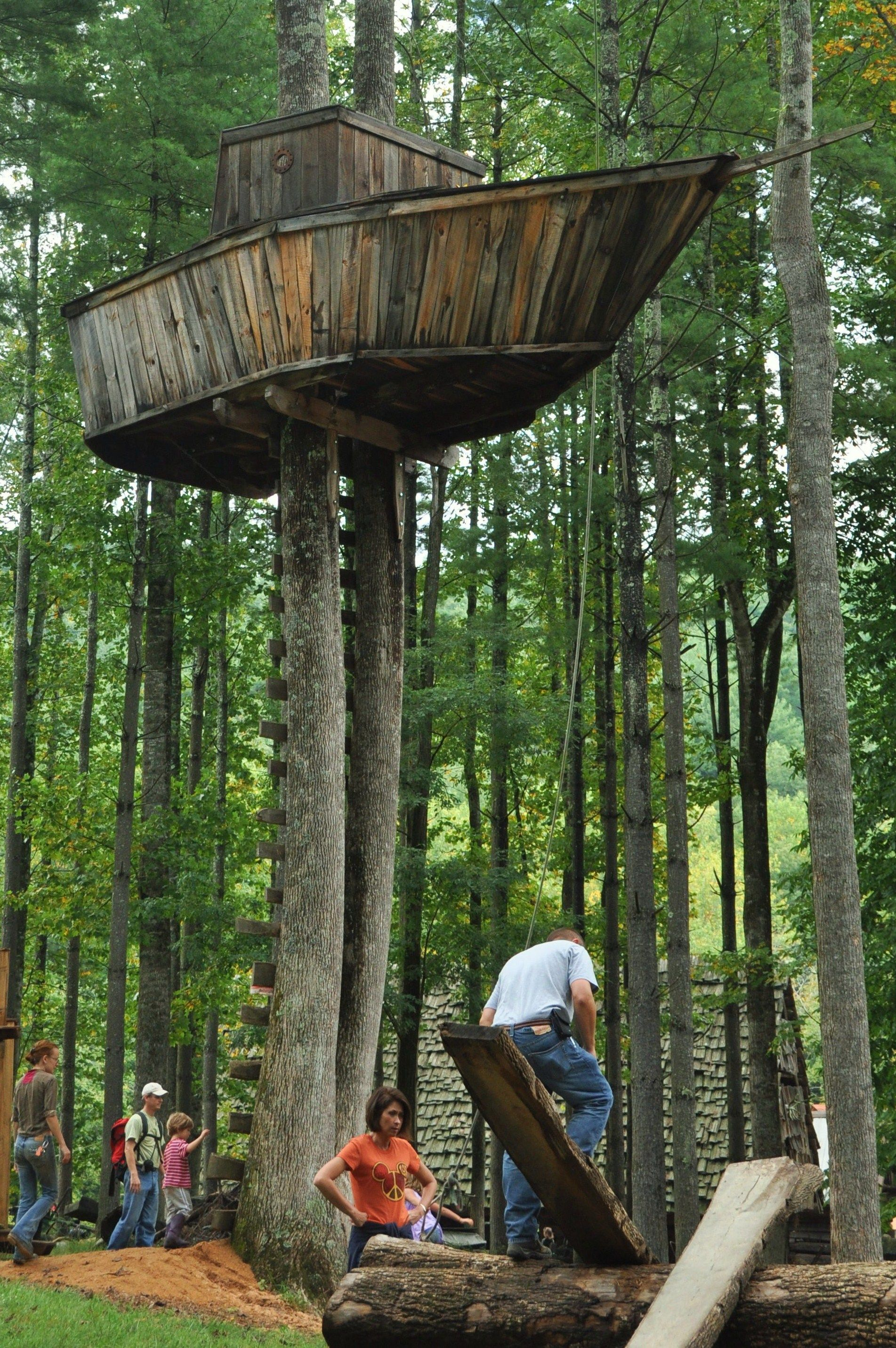 Tree fort ideas for lake...hubby wanted a boat for our lot :