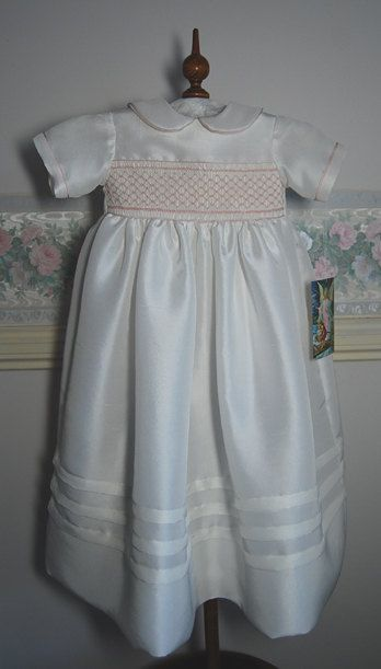 89e0ac8be Antonia - A beautiful silk Christening Gown smocked in pink - To fit up to  6 months
