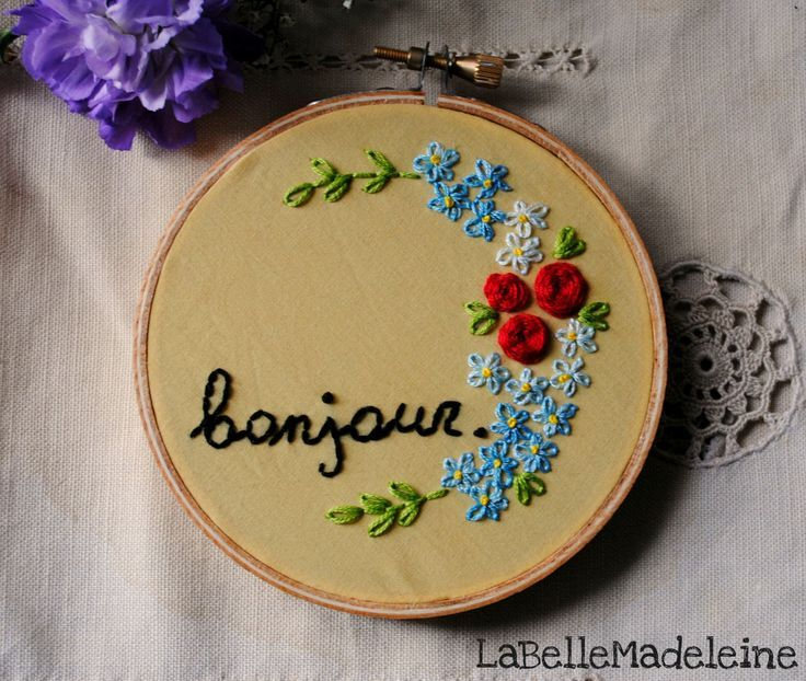 Bonjour Embroidery Floral Hoop, Floral Art, Flowers, French Word, Home Decor ,