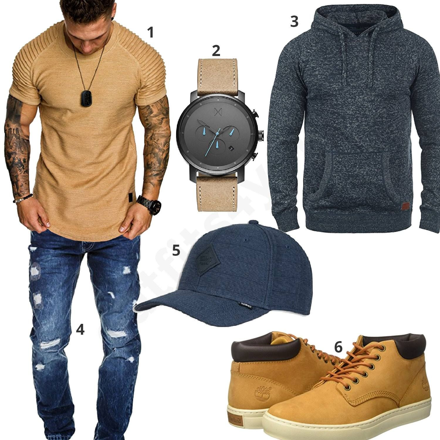 herbst outfit f r herren in beige gold und blau m0607 amacisons mvmt djinns timberland. Black Bedroom Furniture Sets. Home Design Ideas