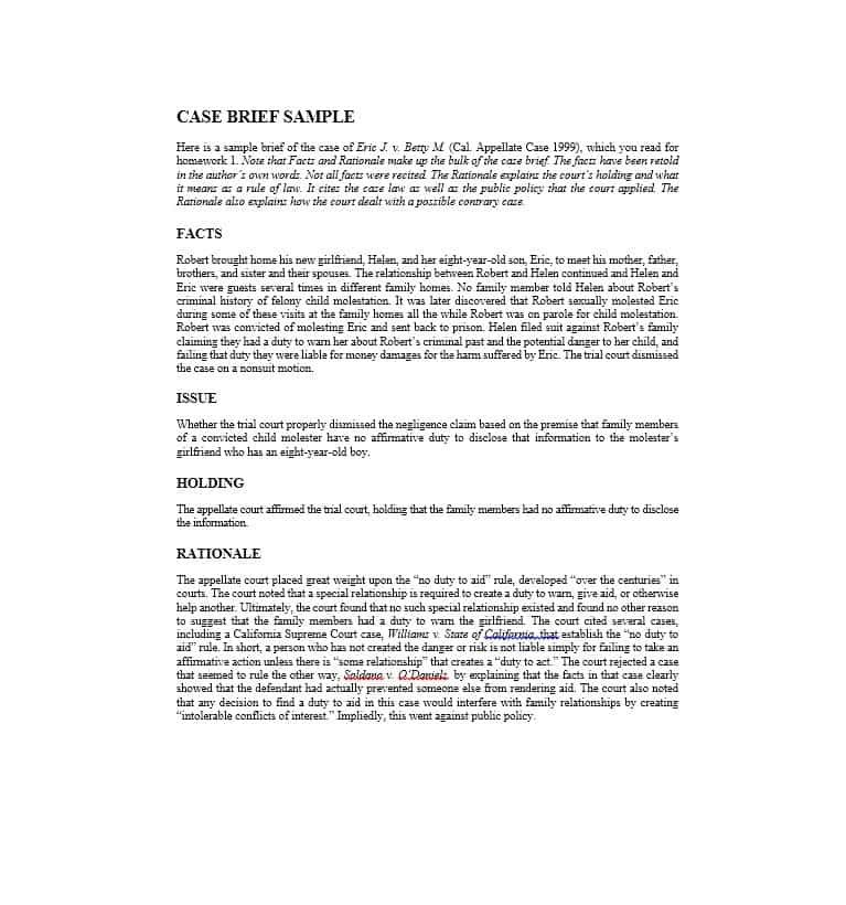 Legal Case Briefs Examples Templates Lettering Sample Resume
