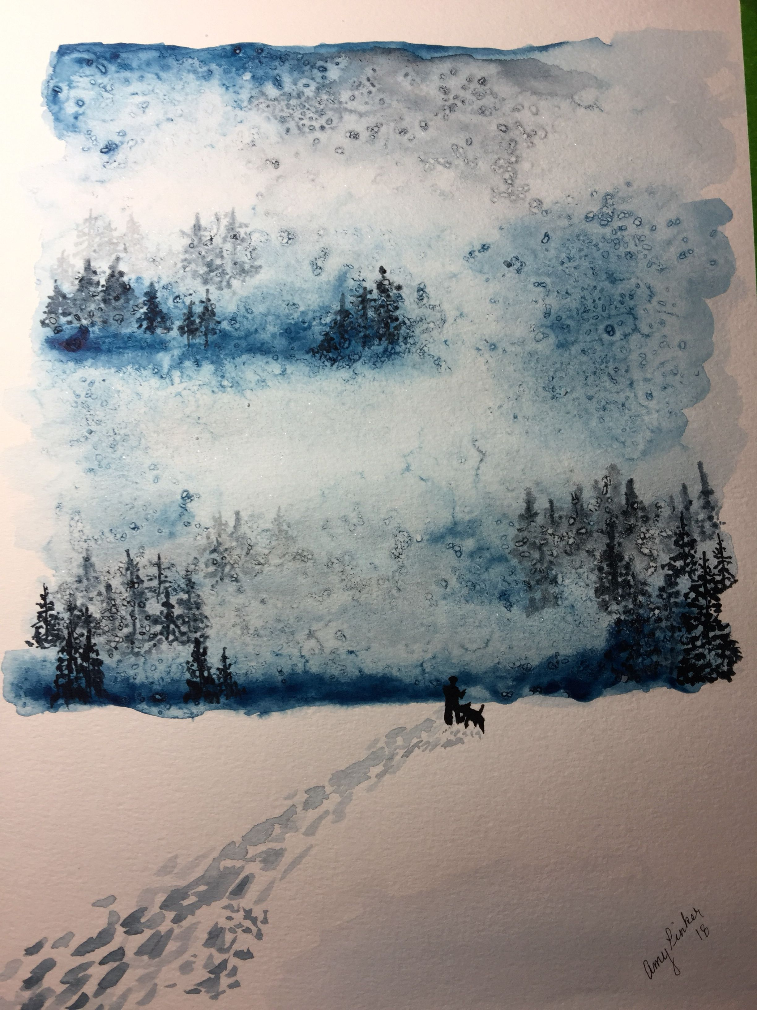 Watercolor Winter Storm Amy Pinker Art Sarah Cray Tutorial