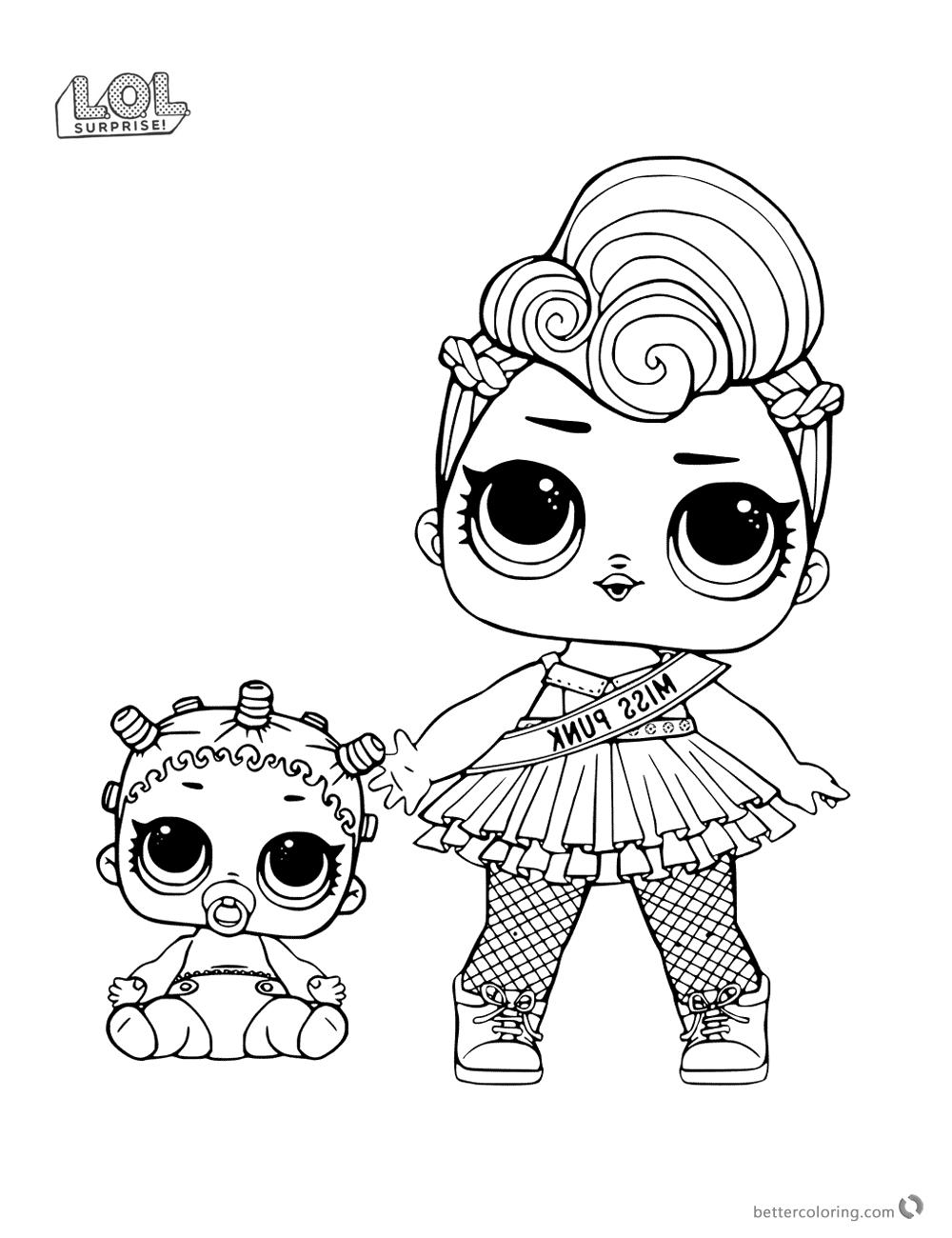 Free Miss Punk Lol Surprise Doll Coloring Pages Printable Cool Coloring Pages Halloween Coloring Pages Coloring Books