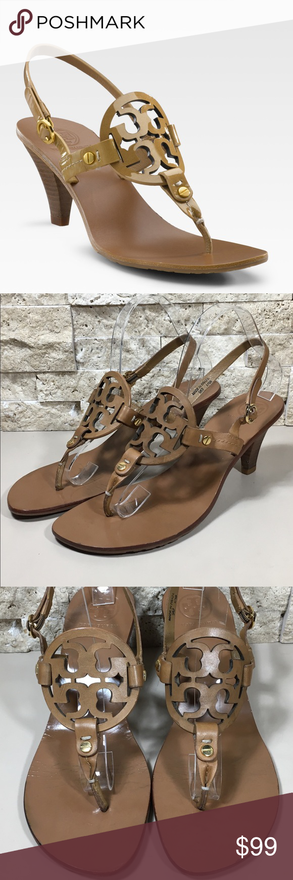 ad16f74dca818f Tory Burch Holly Logo Sandals Heel Size 9