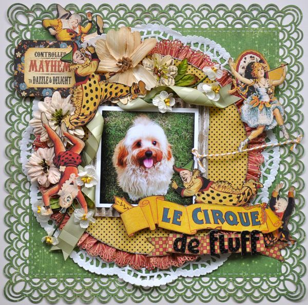Wow! This Le Cirque layout by @Susan Lui is absolutely amazing! Love how she used May Arts Ribbon in the most beautiful and creative ways. And what stunning embellishments and details! Click to see all the beautiful photos. #graphic45 #mayarts