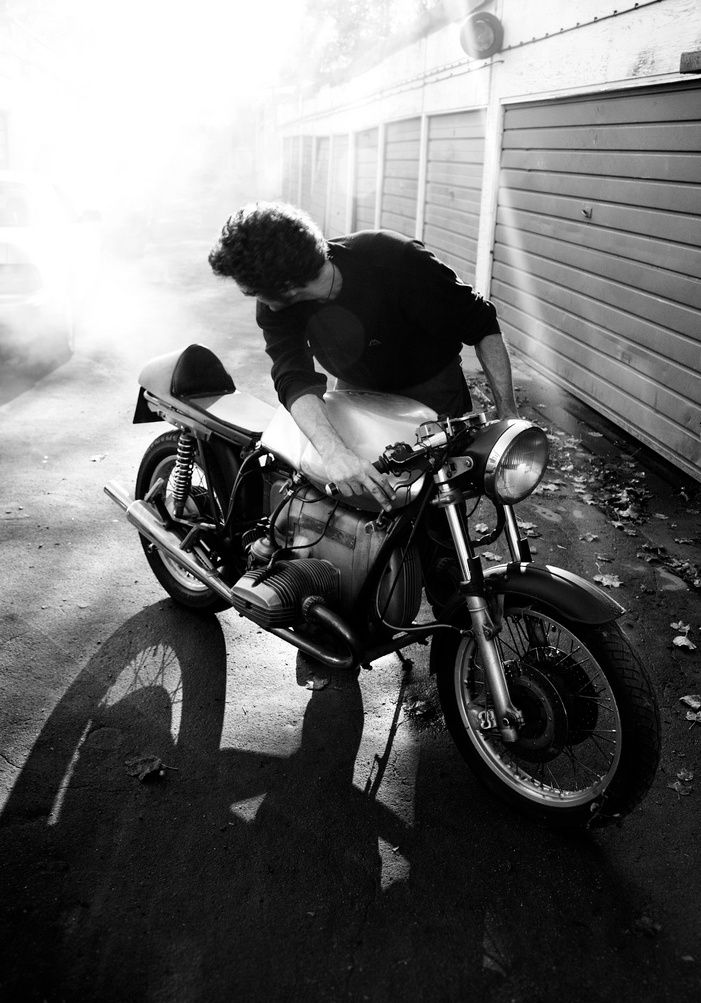 Guy with cafe racer, black and white - more on www.murraymitchell.com