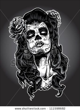 b784c66bf2c stock vector : Day of The Dead Woman with Sugar Skull Face Paint ...