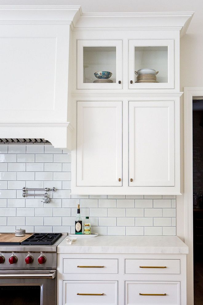 Shaker Kitchen Cabinet With Brushed Br Hardware And White