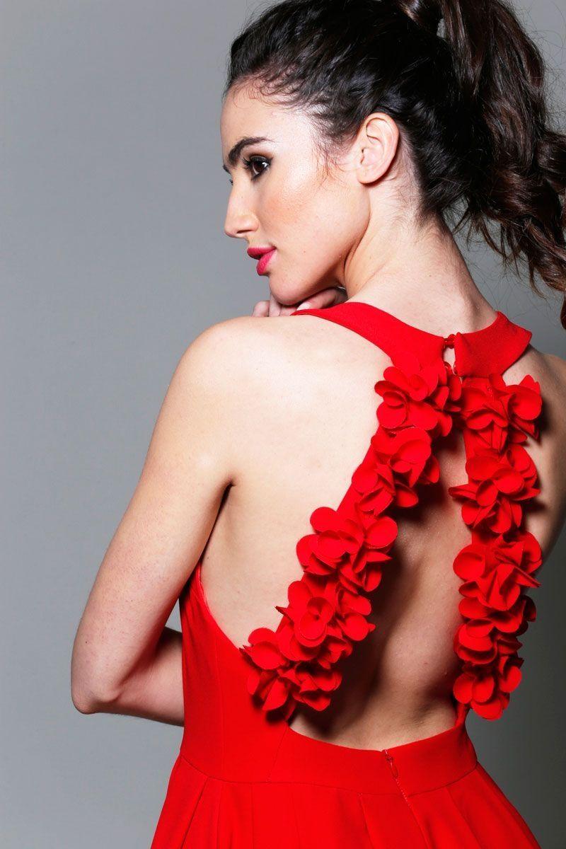 938612279 vestidos rojos de fiesta asimetricos con escote halter para invitadas boda  evento coctel bautizo comunion graduacion de apparentia