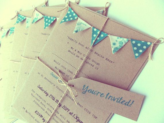 Wedding Invitation Rustic Teal Bunting By