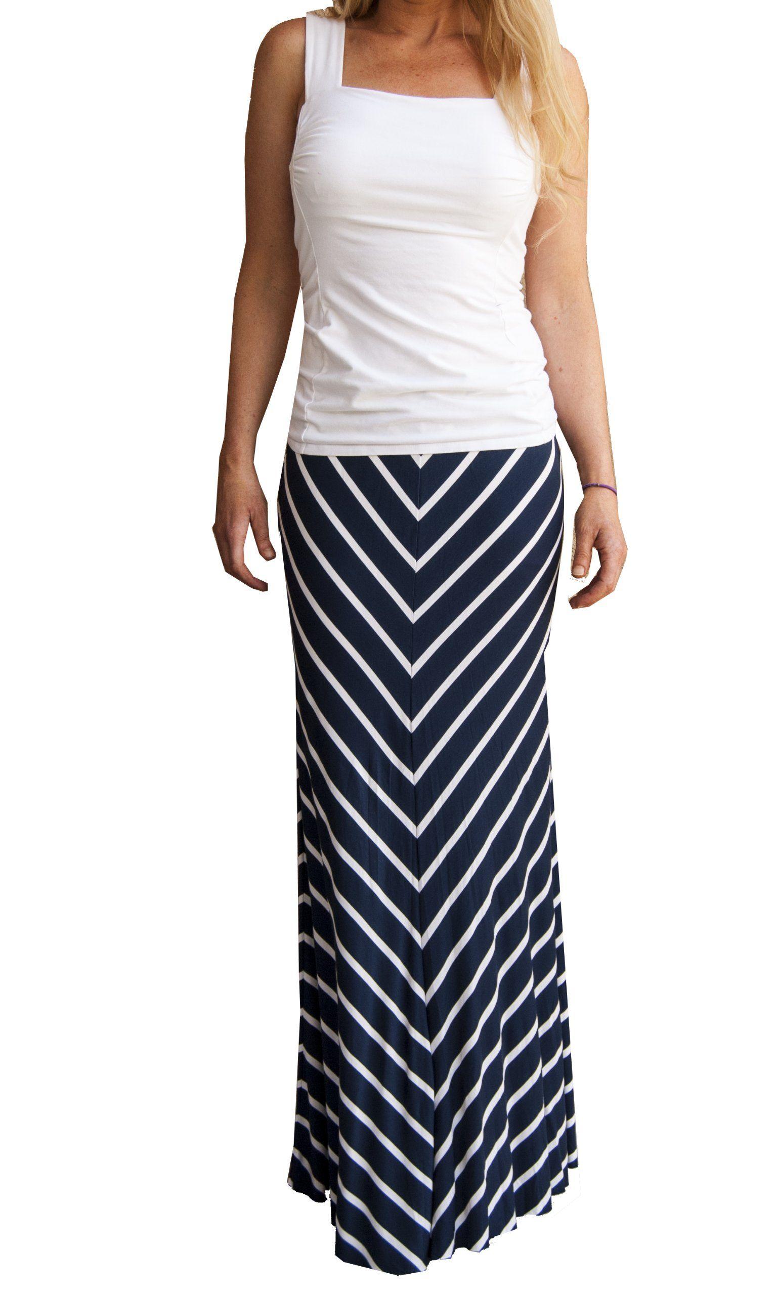 cb747c81721284 On Trend Women s Navy and White Chevron V Lined Long Soft Striped Maxi Skirt  (S)