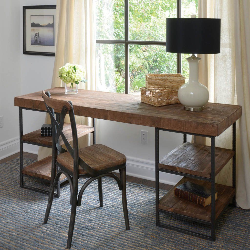 Morella desk - Utilitarian in design and a combination of industrial and  rustic in looks.