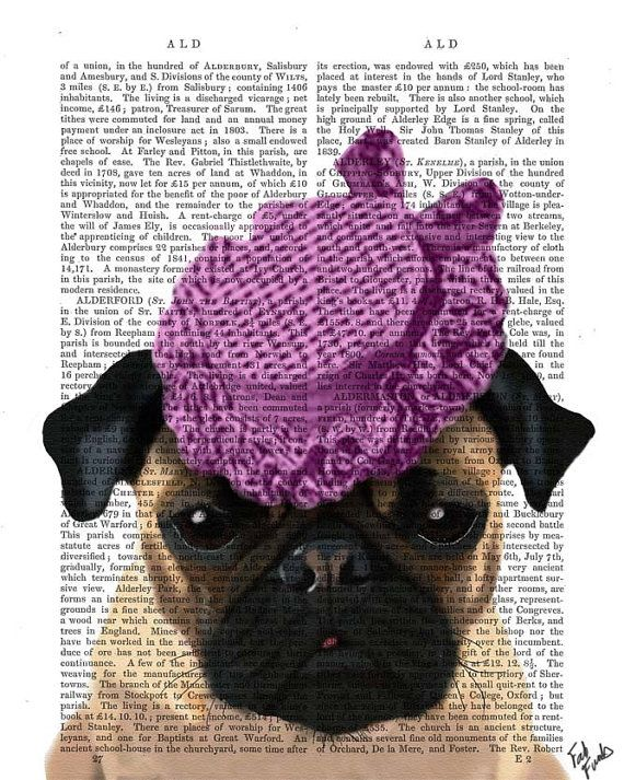 Pug Dog with Vintage Purple Hat Acrylic Art Original by FabFunky ... db341943a172