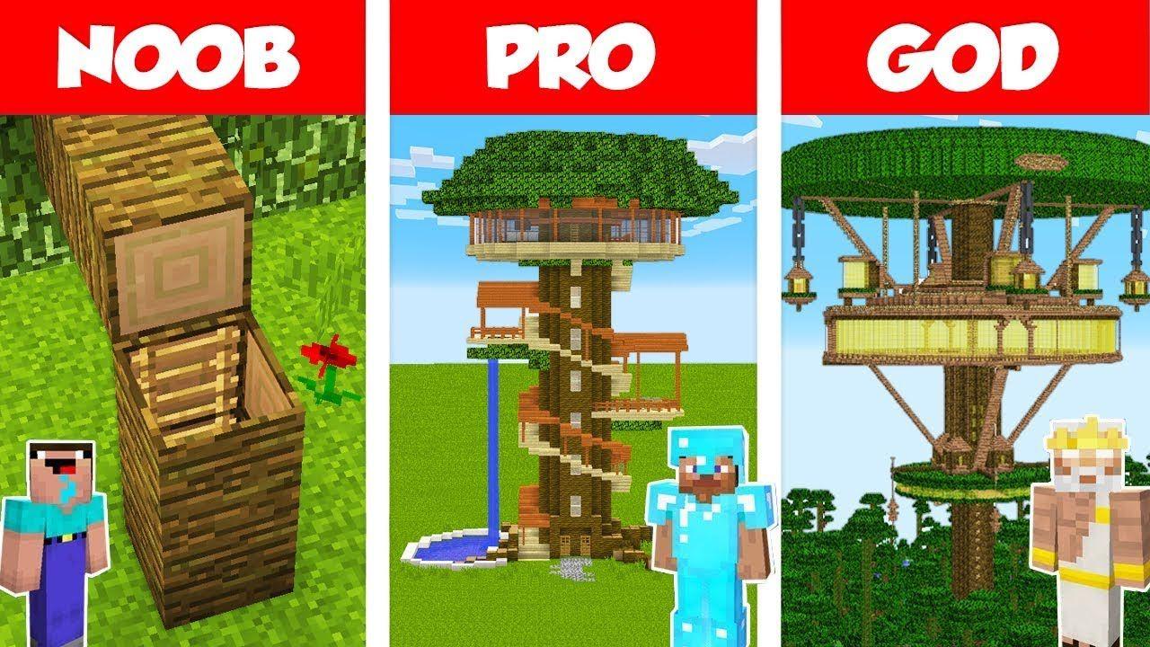Minecraft Noob Vs Pro Vs God Jungle Tree House Build Challenge In Minecraft Animation Youtube Tree House Jungle Tree Minecraft