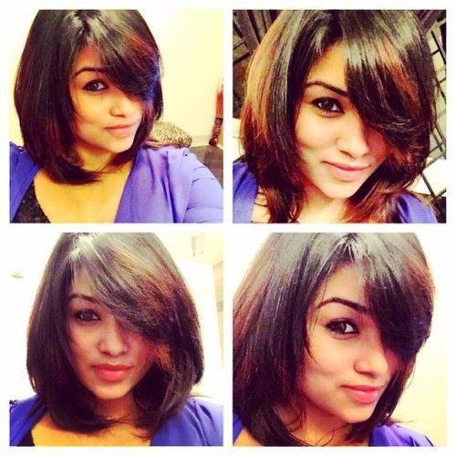 neck length blunt cut bob with highlights | Neck length hair cuts, Indian long hair braid, Hair ...