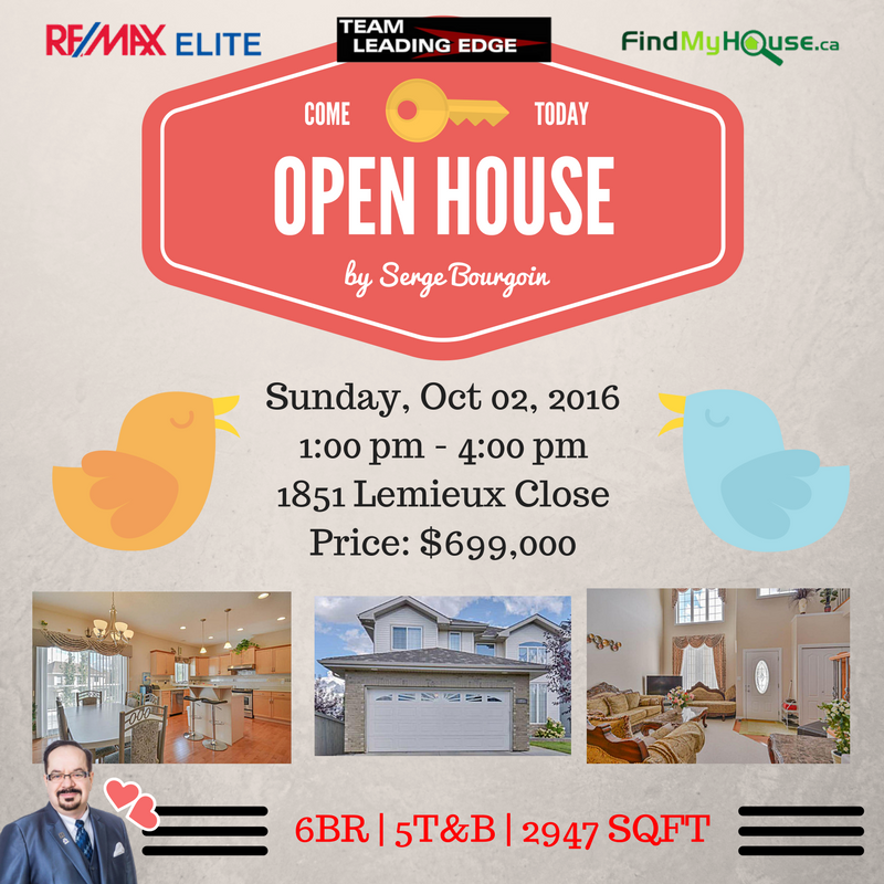 Edmonton Open House 1851 Lemieux Close