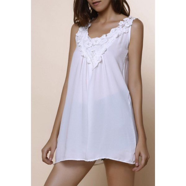 Romantic White Lace Spliced Scoop Neck Tank Top For Women #CLICK! #clothing, #shoes, #jewelry, #women, #men