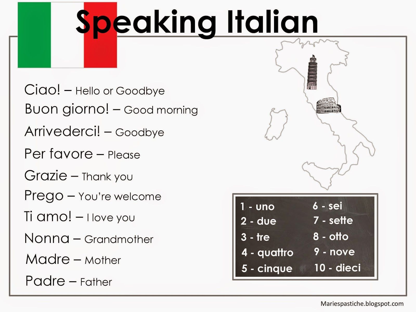 Italian Activity Sheet Free Printables