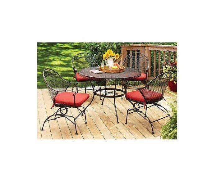 Outdoor Garden Patio Round Dining Table Conversation 5 Piece Bistro Set 4  Chairs