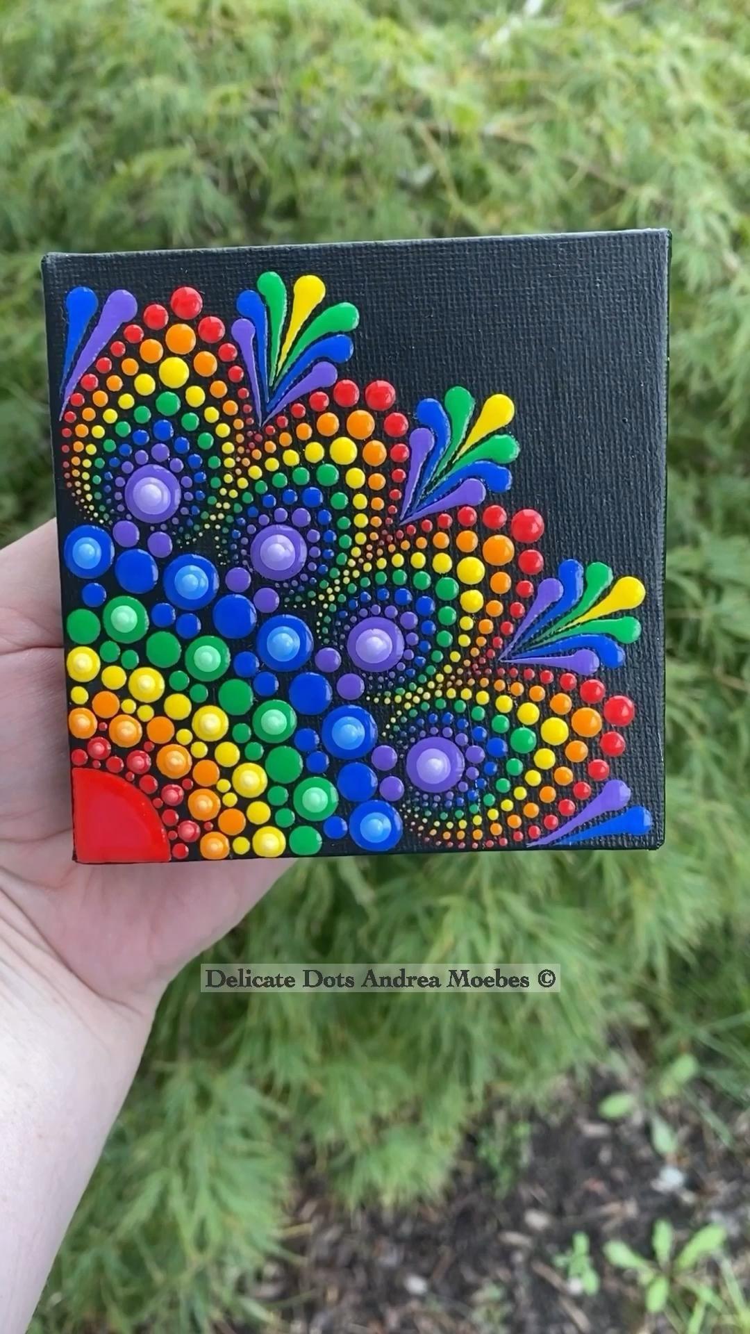 Dot mandala rainbow canvas. Full video on my YouTu