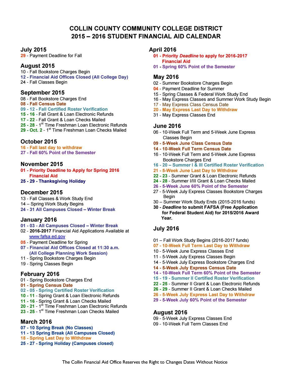 Collin College 2021 Calendar