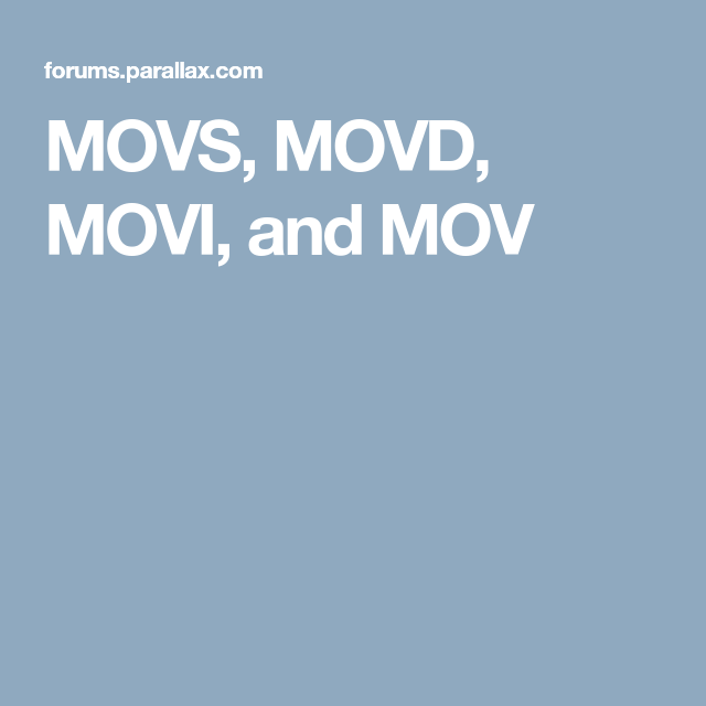 Movs Movd Movi And Mov