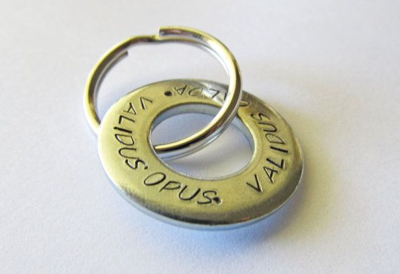 Personalized Silver Washer KeyChain - Great gifts for the wedding party or as a wedding favor