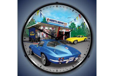 1963 Corvette Lighted Clock Corvette Clock Corvette Wall Clock Light