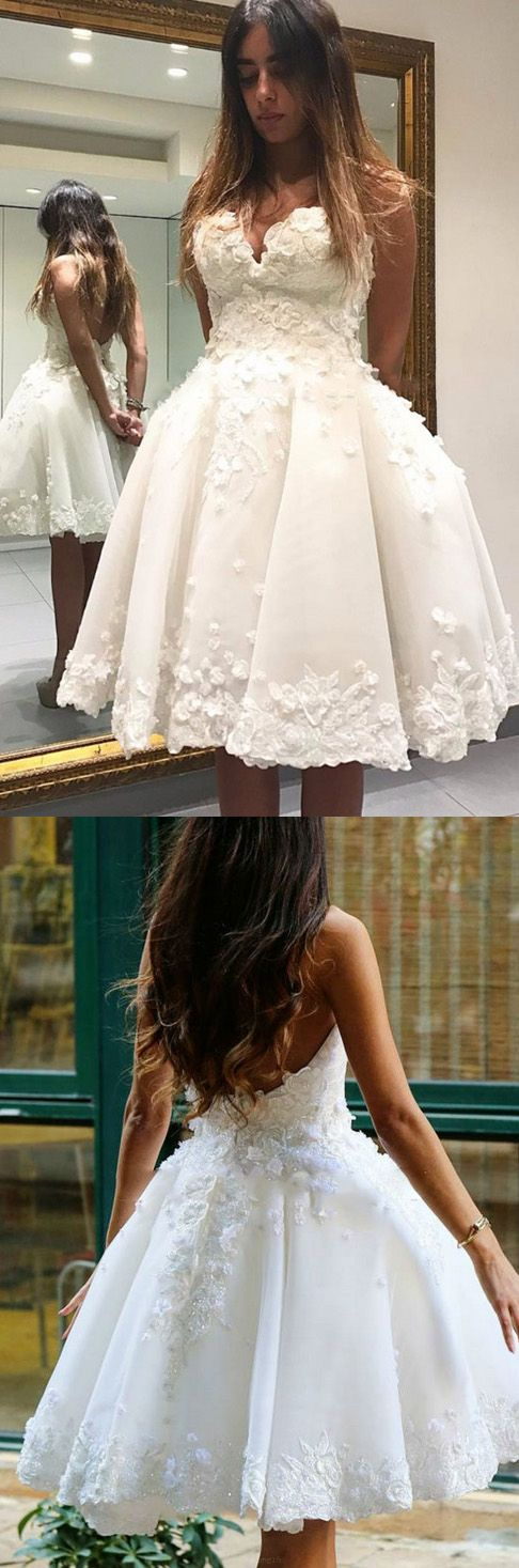 8e083afdcc5 Outlet A-line Princess Prom Party Dresses Short White Dresses With Backless  Applique Knee-length Splendid Homecoming Dresses WF02G55-232