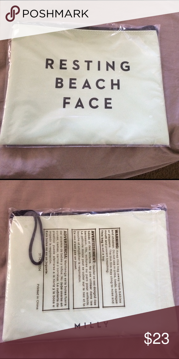 0ee9188f9a Resting Beach Face Swimsuit Tote Resting Beach Face Swimsuit Tote, new in  package! Milly Bags Cosmetic Bags & Cases