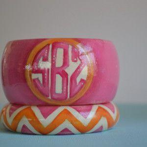 Pink/Orange Handpainted Monogram Bangle Set www.stacybrowndesigns.com