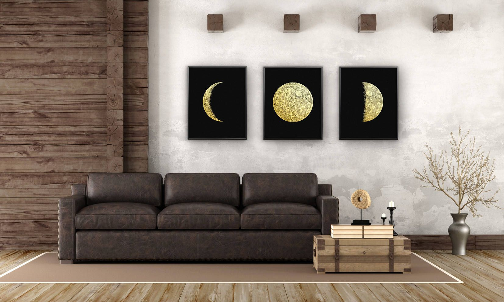 Moon Phases Real Gold Foil set of 3 Large Print up to 16