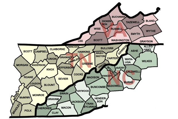 Map Of Virginia And Tennessee County Map | East Tennessee Attractions, Hiking, Outdoor