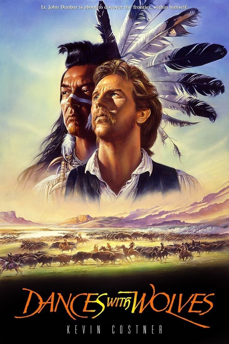 Dances with Wolves is a 1990 American epic Western film directed by, produced by, and starring Kevin Costner. It is a film adaptation of the 1988 book of the same name by Michael Blake and tells the story of a Union Army lieutenant who travels to the American frontier to find a military post and his dealings with a group of Lakota Indians.  https://en.wikipedia.org/wiki/Dances_with_Wolves (fr=Danse avec les loups)