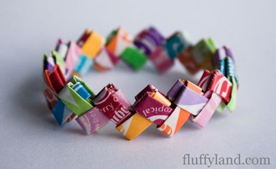Starburst wrapper bracelet tutorial. When I was in school we did this with chewing gum wrappers.