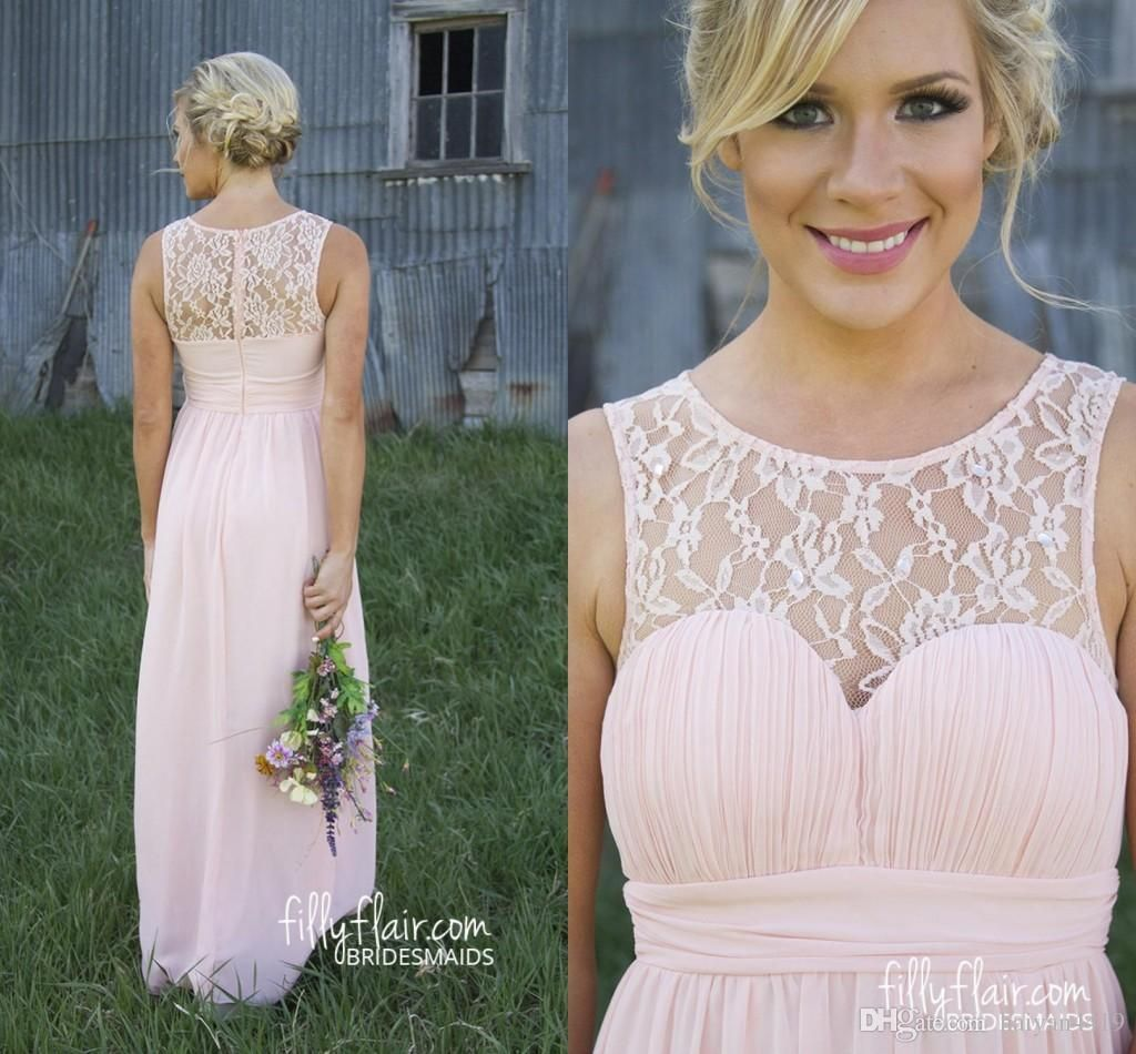 Country bridesmaid dresses 2016 cheap long for weddings illusion country bridesmaid dresses 2016 cheap long for weddings illusion neck chiffon lace party floor length sheer back maid honor gowns under 100 country ombrellifo Gallery