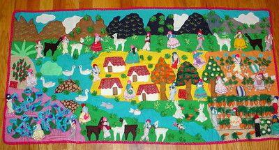 Peruvian 3d Arpillera Folk Art Quilt Wall Hanging Tapestry Handsewn Applique South American Art Peruvian Art Art Quilts