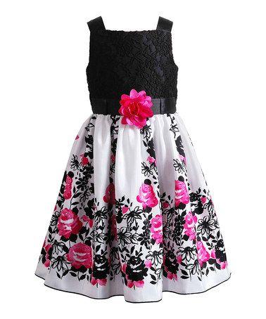 Look at this #zulilyfind! Black & Pink Floral Lace Dress - Girls #zulilyfinds