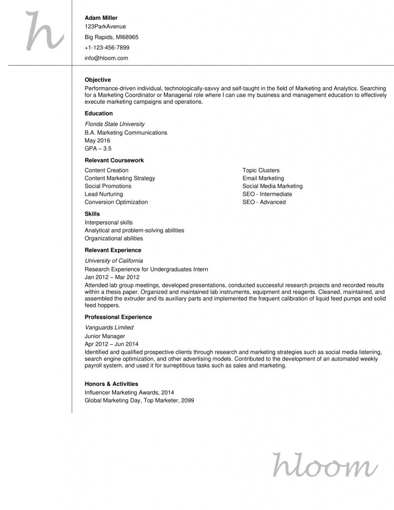 Resume Examples Entry Level 2021 Resume Outline Basic Resume Resume Format Examples