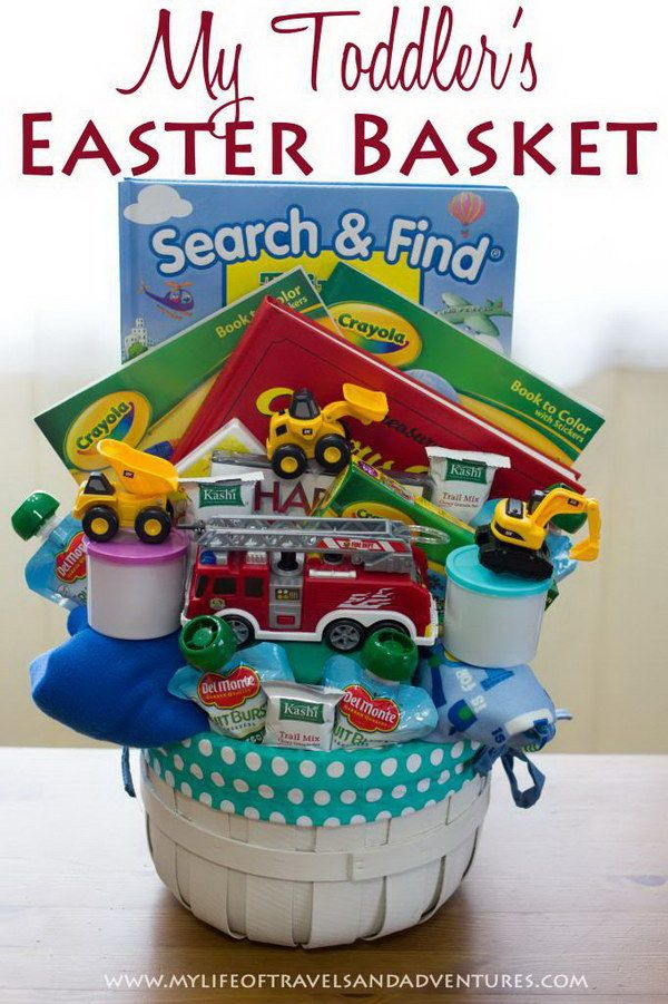 Gift basket for toddlers gifts pinterest basket ideas gift easter basket for toddler boys search find book 2 coloring books 2 24 piece puzzles 2 dvds happy feet curious george 1 firetruck 3 negle Choice Image